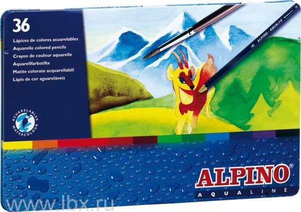Цветные шестигранные акварельные карандаши Aqualine 36 цветов, Alpino (Алпино)
