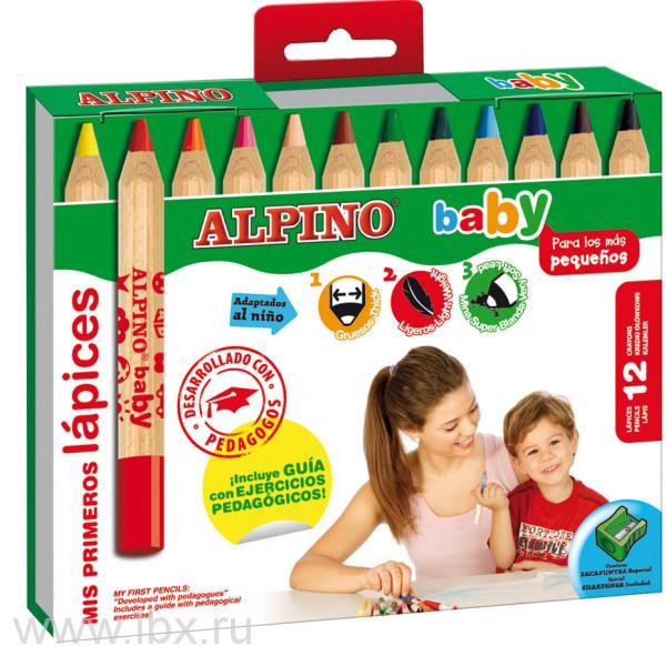 Цветные карандаши `baby` 12 цветов с точилкой, Alpino (Алпино)