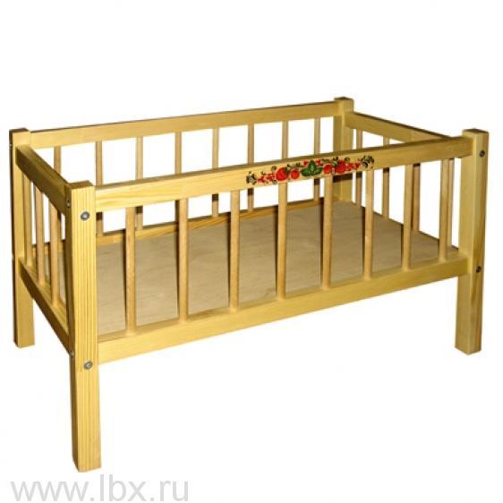 Кровать для кукол `Сонечка`, Хохломская роспись