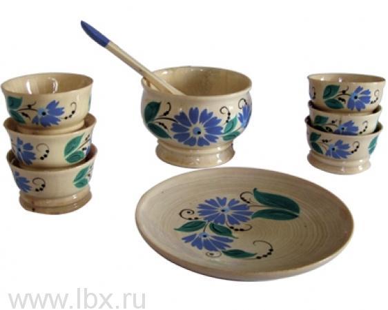 Набор посуды для кукол `Полянка`, Хохломская роспись
