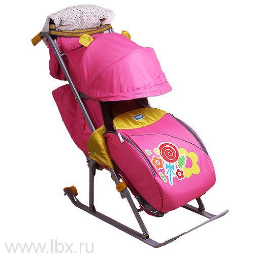 Санки-коляска Nika Kids `Ника Детям 5` (Леденец (розовый))