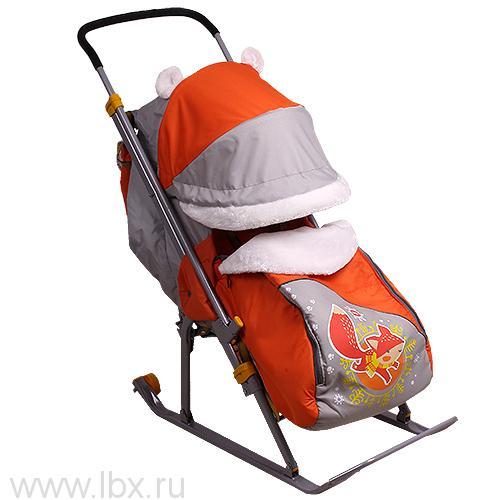 Санки-коляска Nika Kids `Ника Детям 6` (Лисенок (серый/оранжевый))