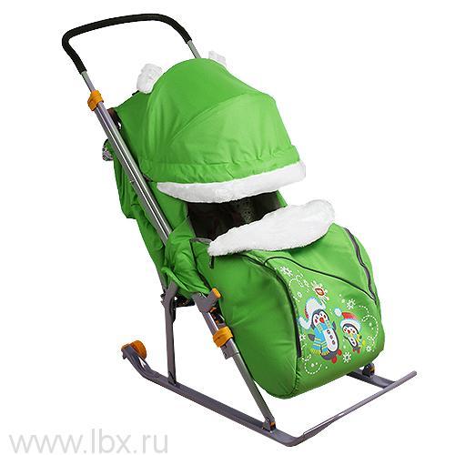 Санки-коляска Nika Kids `Ника Детям 6` (Пингвины (зеленый/салатовый))