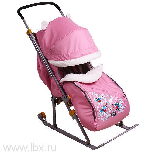 Санки-коляска Nika Kids `Ника Детям 6` (Снегири (розовый))
