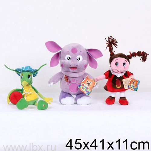 Набор из трех мягких игрушек: Лунтик, Кузнечик Кузя, Божья коровка Мила Мульти-Пульти