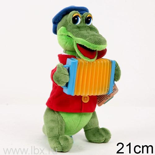 Мягкая игрушка `Крокодил Гена с аккордеоном` Мульти-Пульти