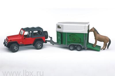 Джип `Wrangler` c прицепом для лошади  Bruder (Брудер)