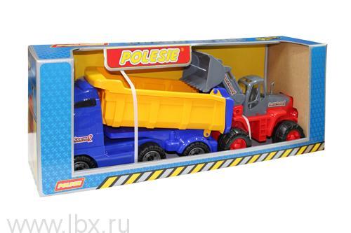 Автомобиль самосвал с прицепом и трактор-погрузчик Полесье (Polesie)