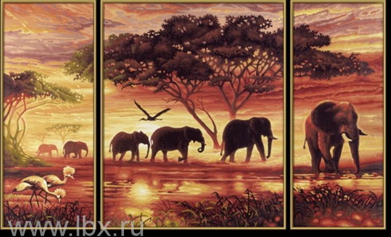 Набор для раскрашивания Триптих `Африканские слоны` Schipper (Шиппер)
