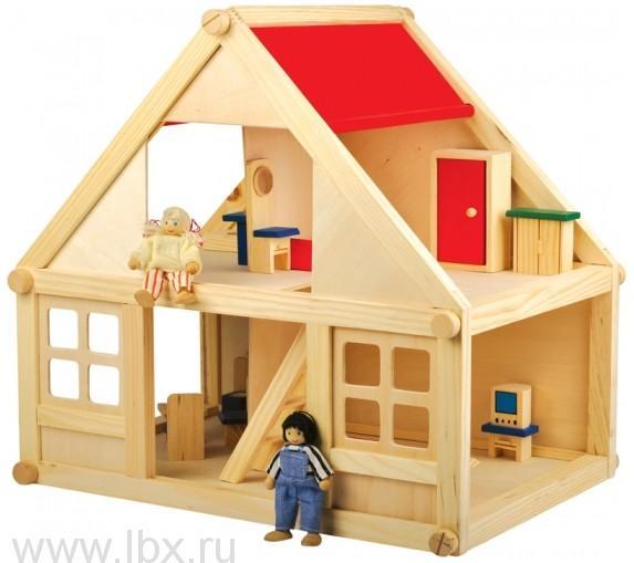 Кукольный дом деревянный для сборки и