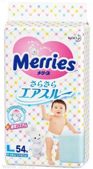 Подгузники Merries 9-14 кг (Меррис) эконом L 54 шт