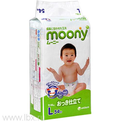 Подгузники Moony 9-14 кг (Муни) Эконом L 54 шт