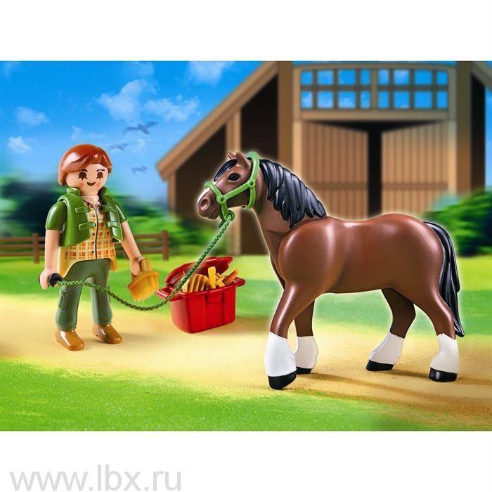 Шайрская лошадь со стойлом, Playmobil (Плеймобил)