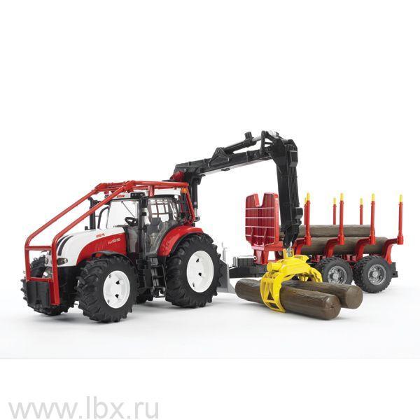 Трактор Steyr CVT 6230 лесной с манипулятором и прицепом с брёвнами, Bruder (Брудер)